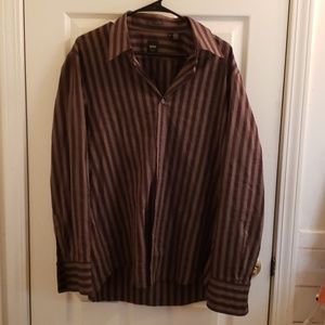Hugo Boss Men's Dress Shirt XL Purple Brown